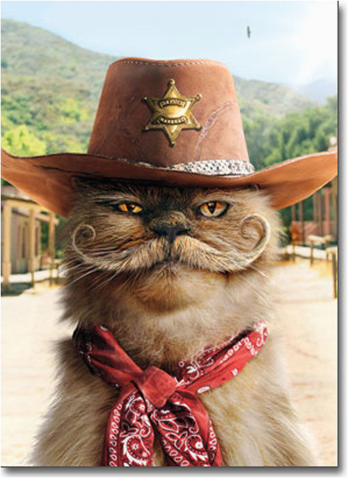 sheriff cat with mustache stand out pop up birthday card