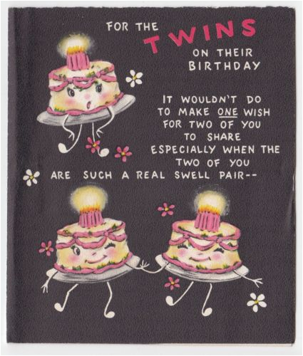Funny Twin Birthday Cards Vintage Greeting Card Happy Twins Cute