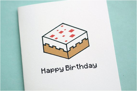 Gamer Birthday Cards Pixelated Cake Note Card
