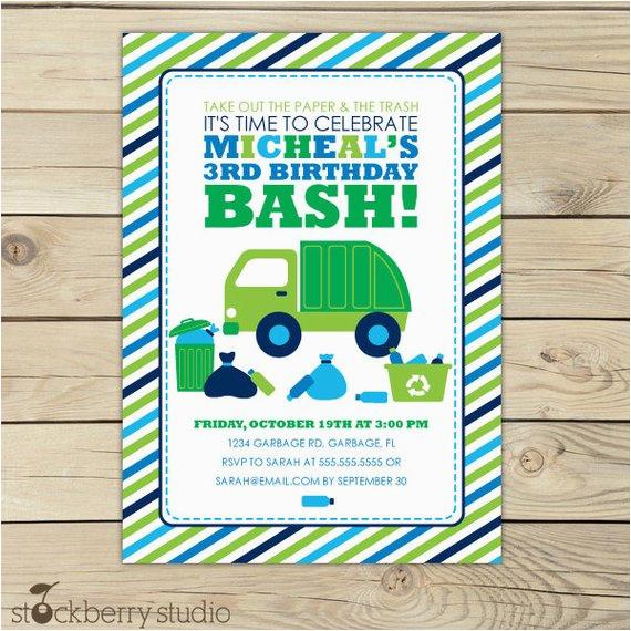 garbage truck invitation boy birthday printable
