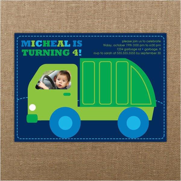 garbage truck birthday invitation