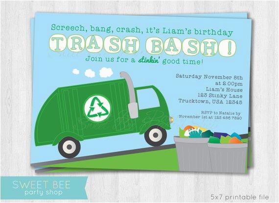 garbage truck birthday invitation printable