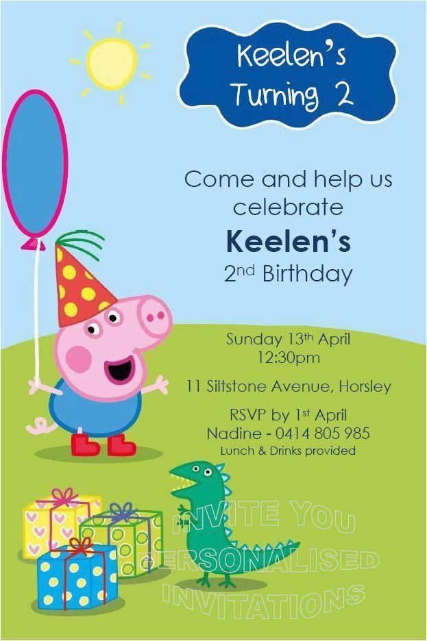 80642649556052937 Birthday Party Invitations Boys Invite Peppa George Pig
