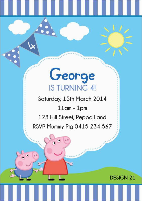 George Pig Birthday Invitations Peppa Party Personalised