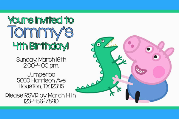 George Pig Birthday Invitations Peppa