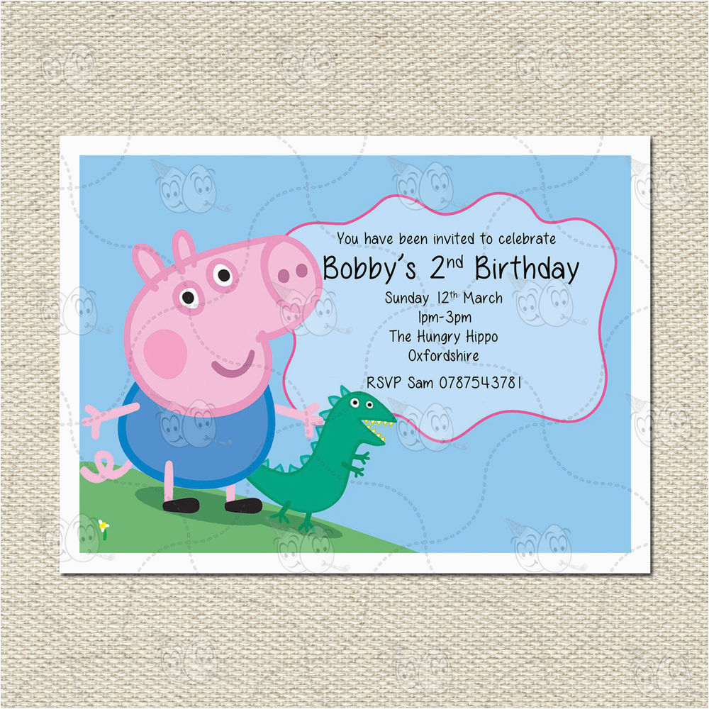 George Pig Birthday Invitations Personalised And Dinosaur Peppa Party
