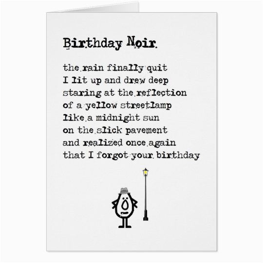 Gift Card Poem For Birthday Noir A Funny Belated