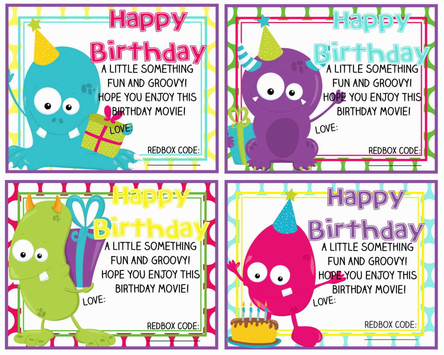 printable redbox birthday gift card happy birthday monsters