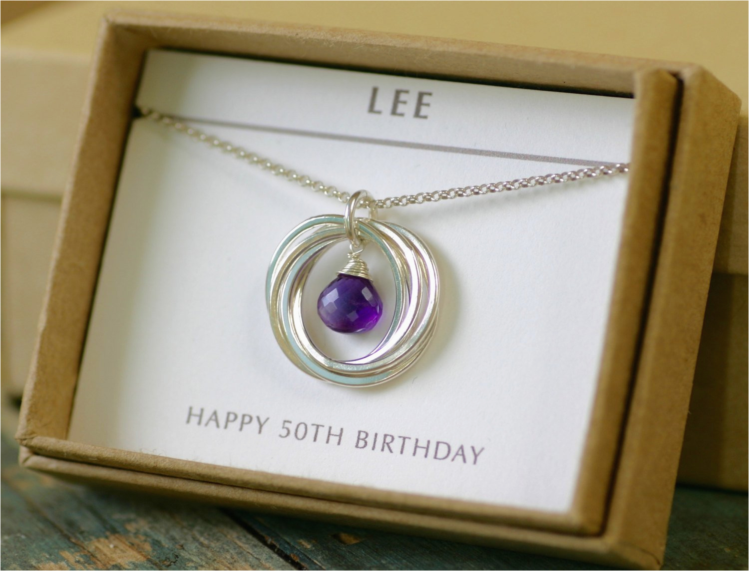 Gifts For Her 50th Birthday Special Gift Amethyst Necklace Wife