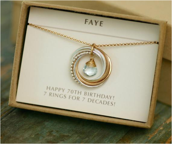 Gifts For Her 70th Birthday Gift Grandmother Necklace Blue
