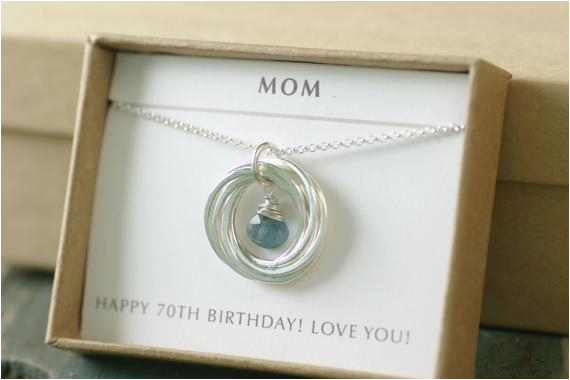 70th birthday gift for her aquamarine necklace by