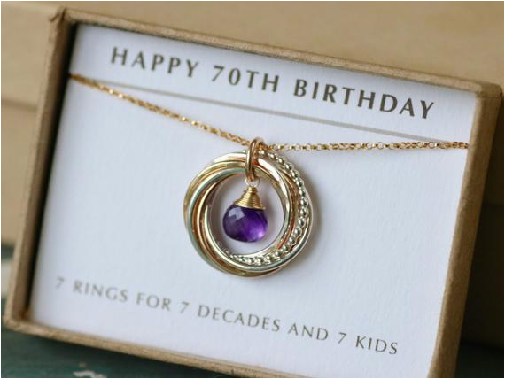 70th birthday gift for mother necklace for her amethyst