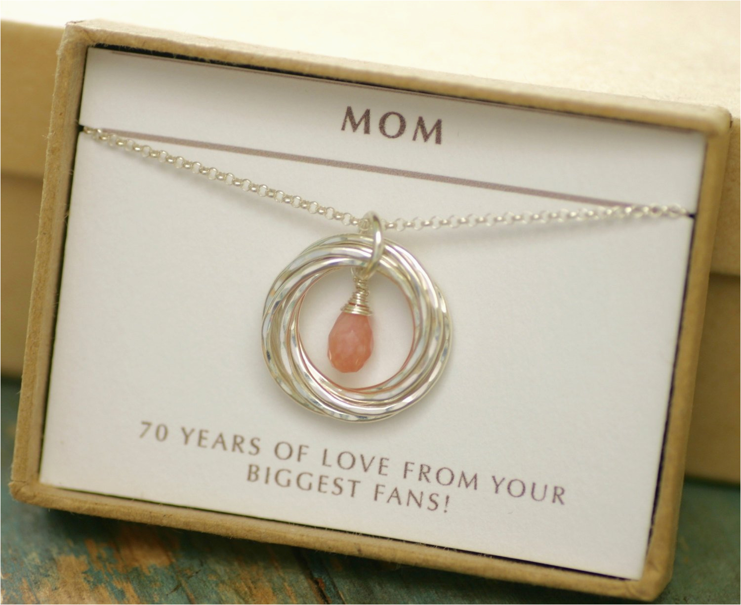 Gifts For Her 70th Birthday Gift Idea Pink Opal Necklace Grandma