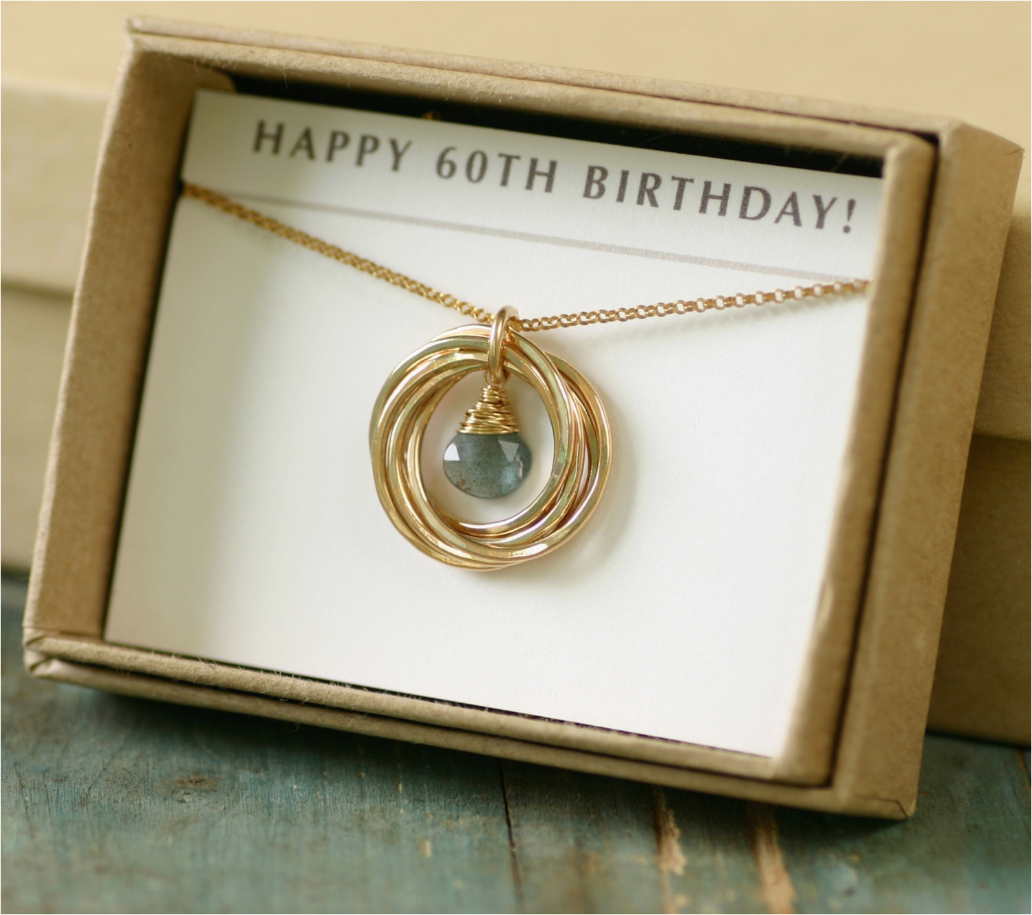 60th Birthday Gift For Her Aquamarine Necklace Mom