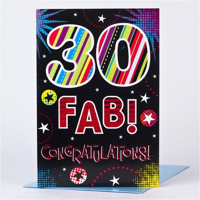 giant 30th birthday card fab