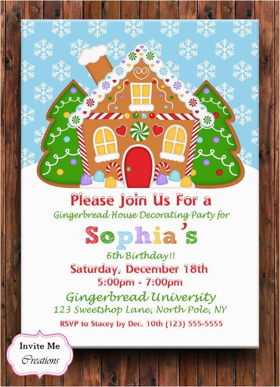 gingerbread birthday invitation