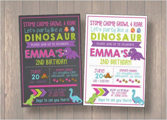 girl dinosaur invitation girl dinosaur