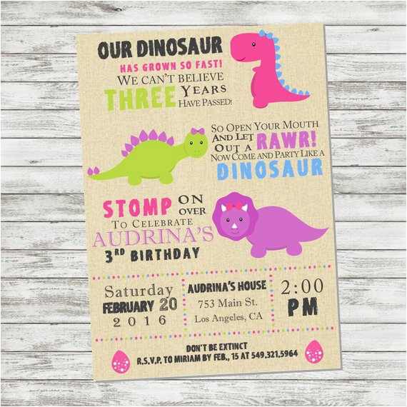 girls dinosaur birthday invitation pink