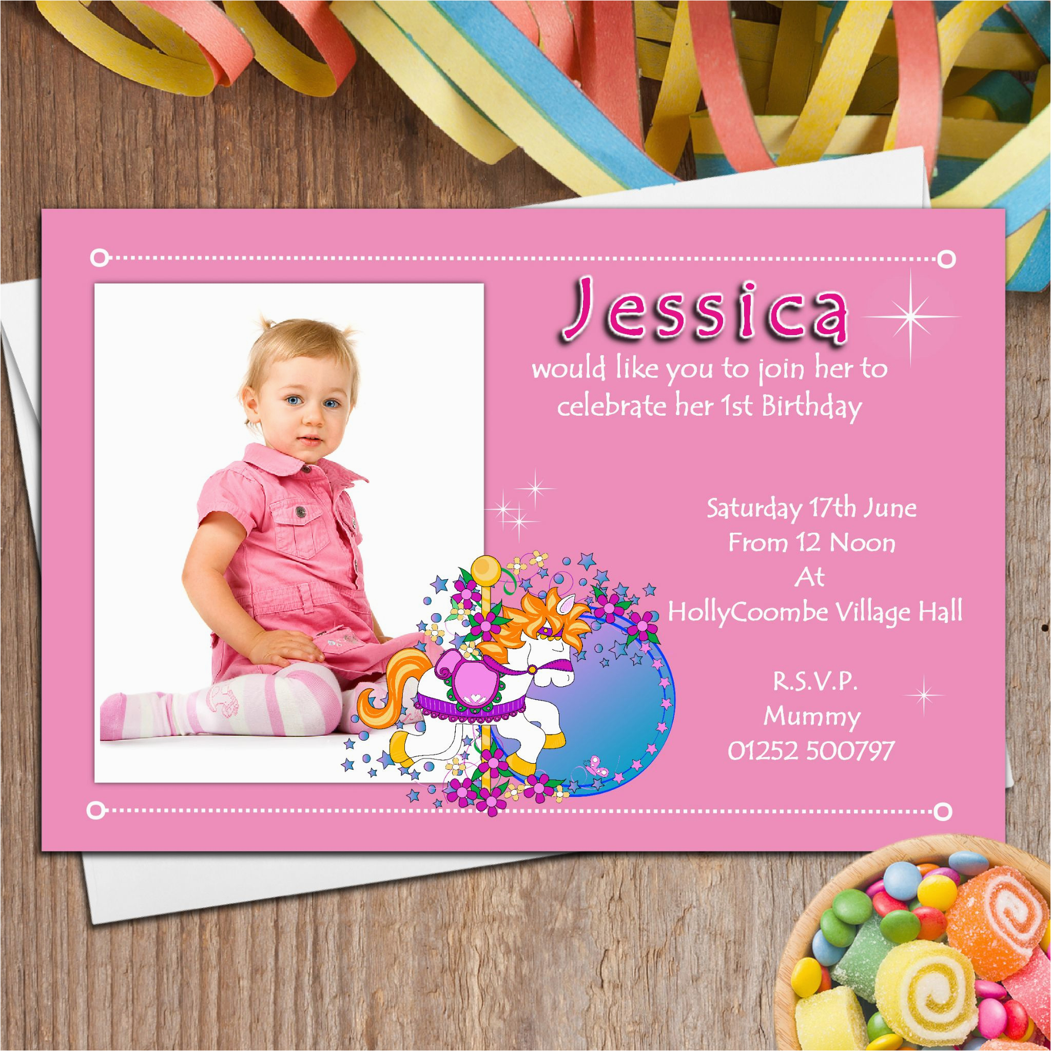 Girl First Birthday Invitations Photo 10 Personalised Girls 1st Party