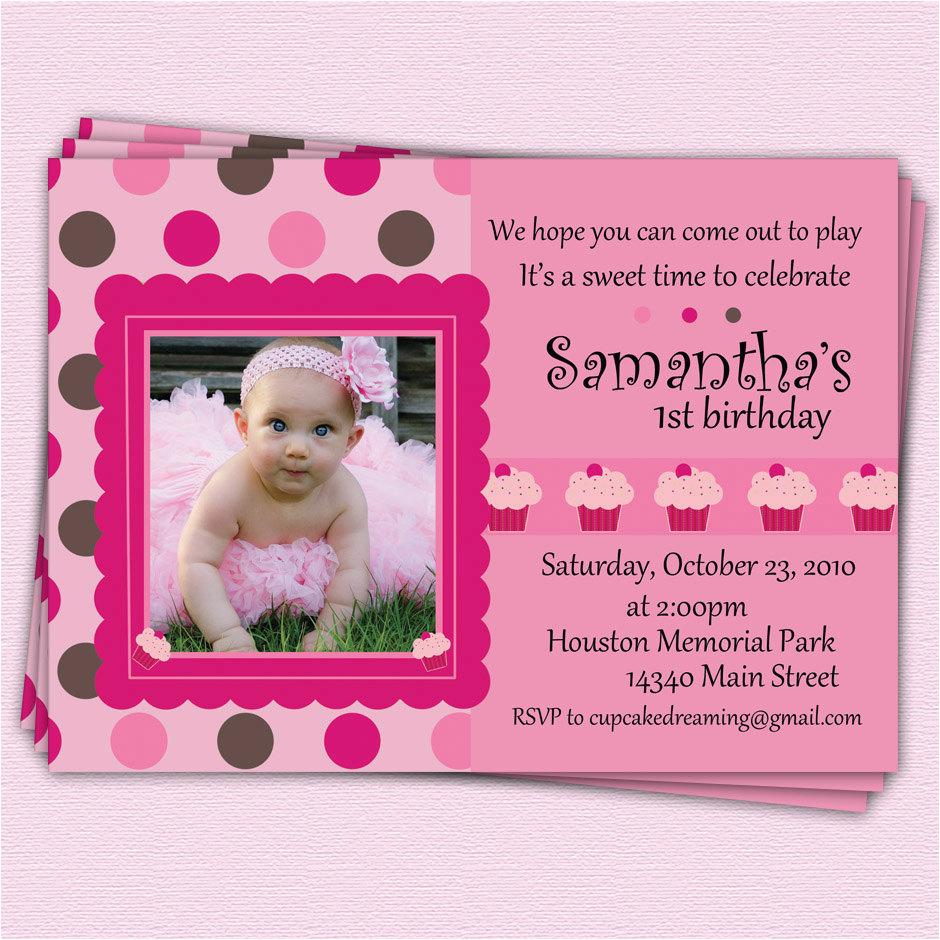 Girl First Birthday Invitations Photo Girl First Birthday