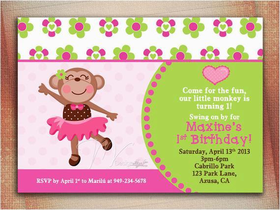 monkey girl birthday invitation girl