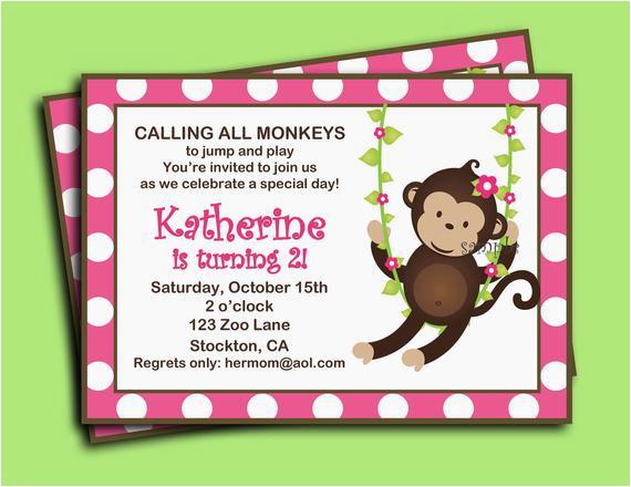 monkey girl invitation printable or