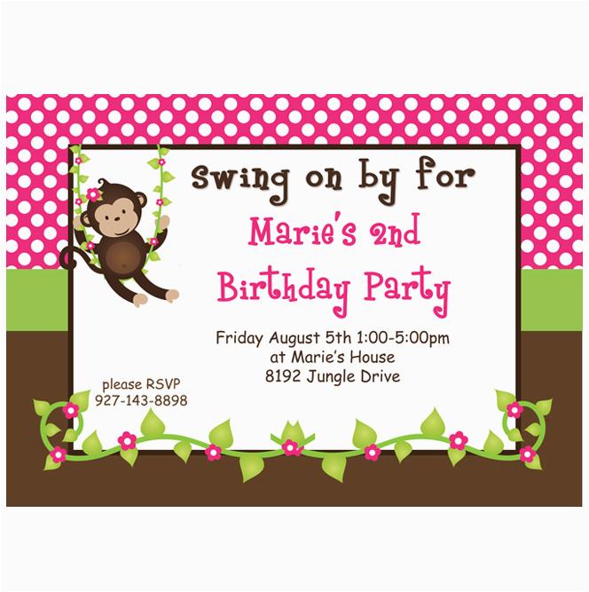 monkey girl printable invitation 2