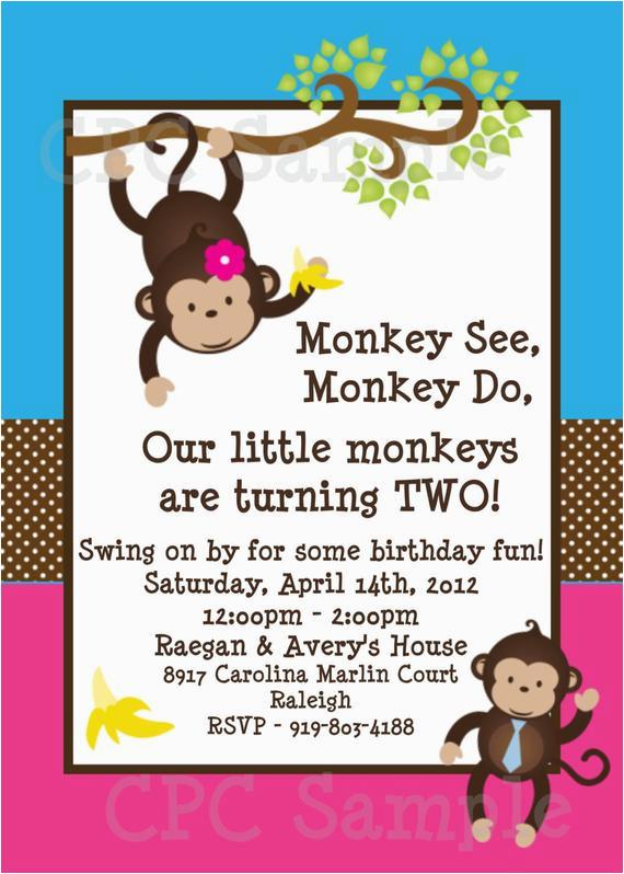 twins monkey birthday invitation boy girl