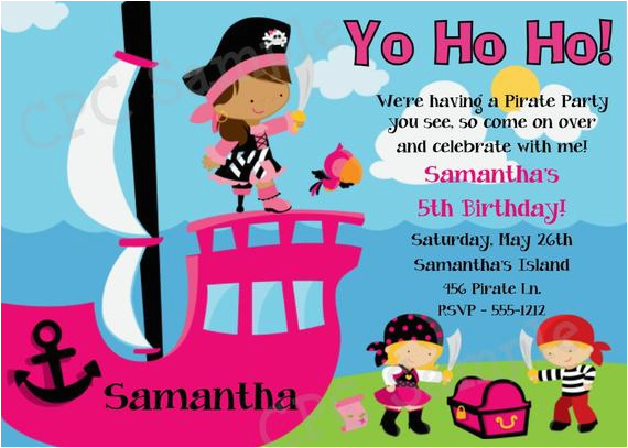 girls pirate birthday invitation girls pirate 3
