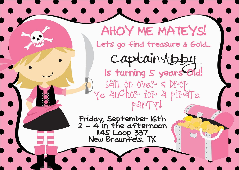 girl pirate birthday invitations