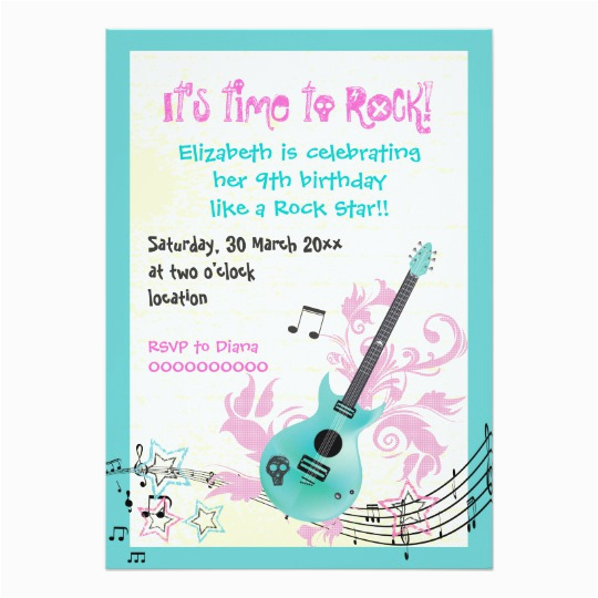 Girly Birthday Invitation Templates Rock Star Girly Electric Guitar Birthday Card Zazzle Com Au