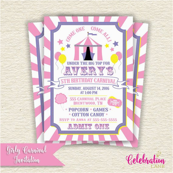 Girly Birthday Invitations Free Printable Carnival Party Invitation Pink
