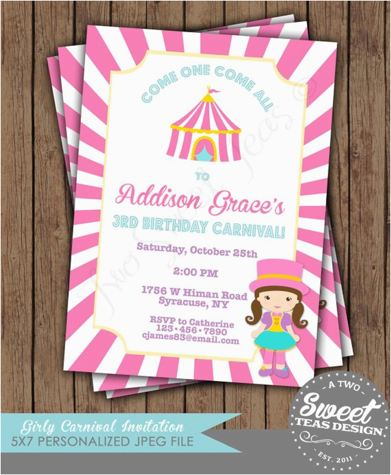 Girly Birthday Invitations Free Printable Carnival Circus Invitation Party Pink By