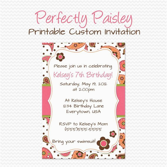 Girly Birthday Invitations Free Printable Paisley Party Invitation Summer