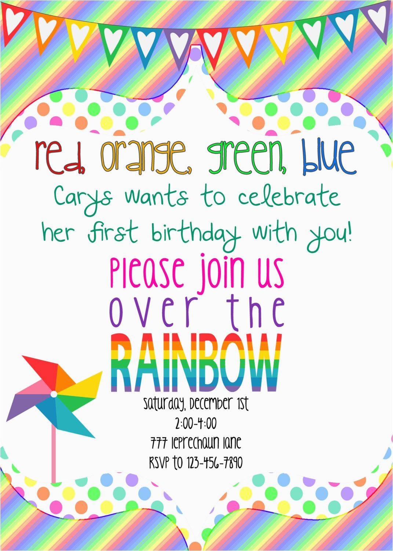 Girly Birthday Invitations Free Printable Rainbow Invitation