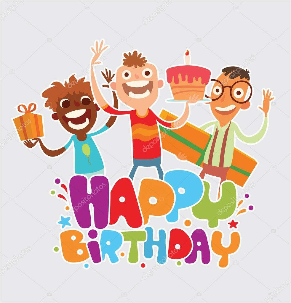 happy birthday card with friends stock vector