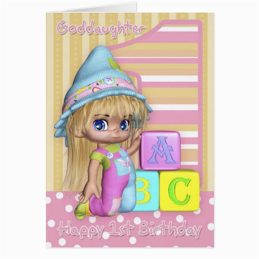 Goddaughter First Birthday Card Goddaughter 1st Birthday Card with Cute Child Zazzle