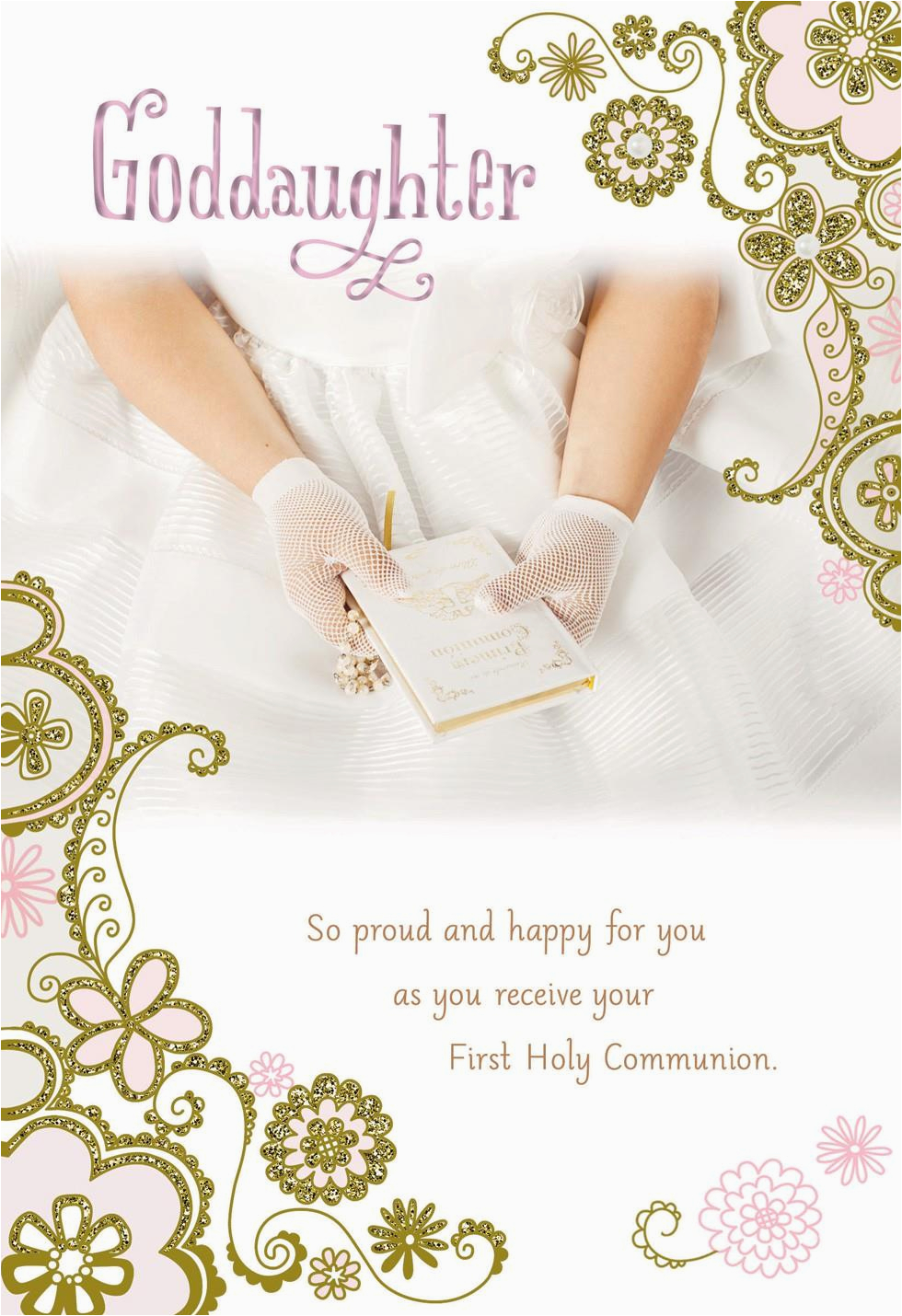 Goddaughter First Birthday Card Hands In White Gloves First Holy Communion Card for