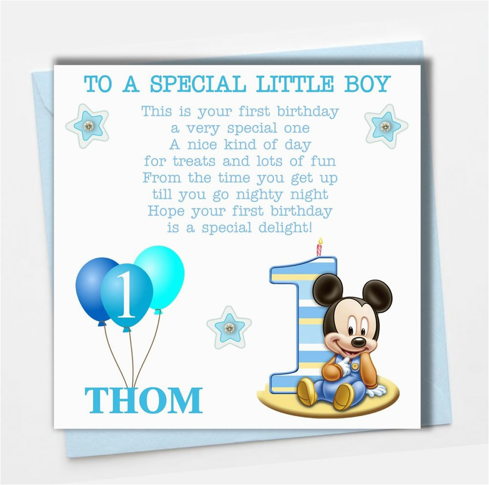 Goddaughter First Birthday Card Personalised Mickey Mouse Boy son Grandson Godson Babies
