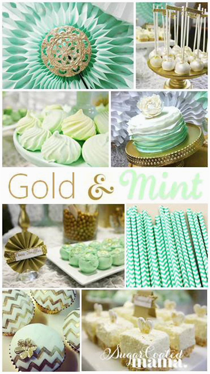 mint and gold birthda party