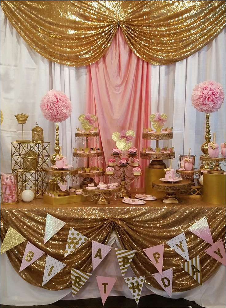 Gold Birthday Party Decorations Pink And Gold Minnie Mouse