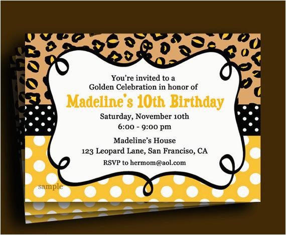 Golden Birthday Invitation Wording Golden Birthday Invitation Printable or Printed with Free
