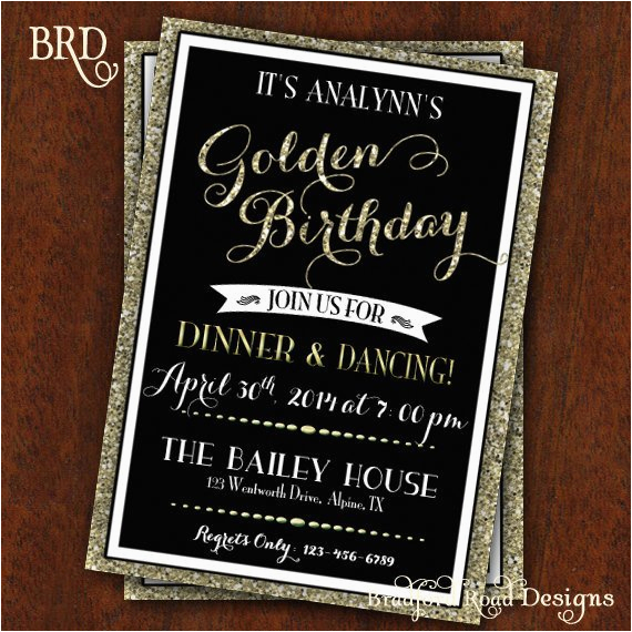 Golden Birthday Invitation Wording Party Gold Black 30th