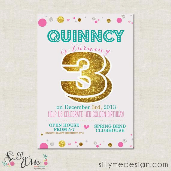 Golden Birthday Invitation Wording Items Similar To Custom Themed