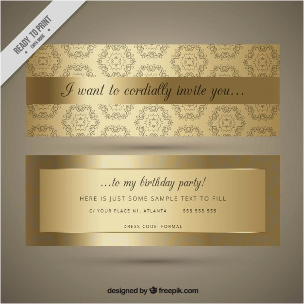 ornamental golden birthday invitation 875970