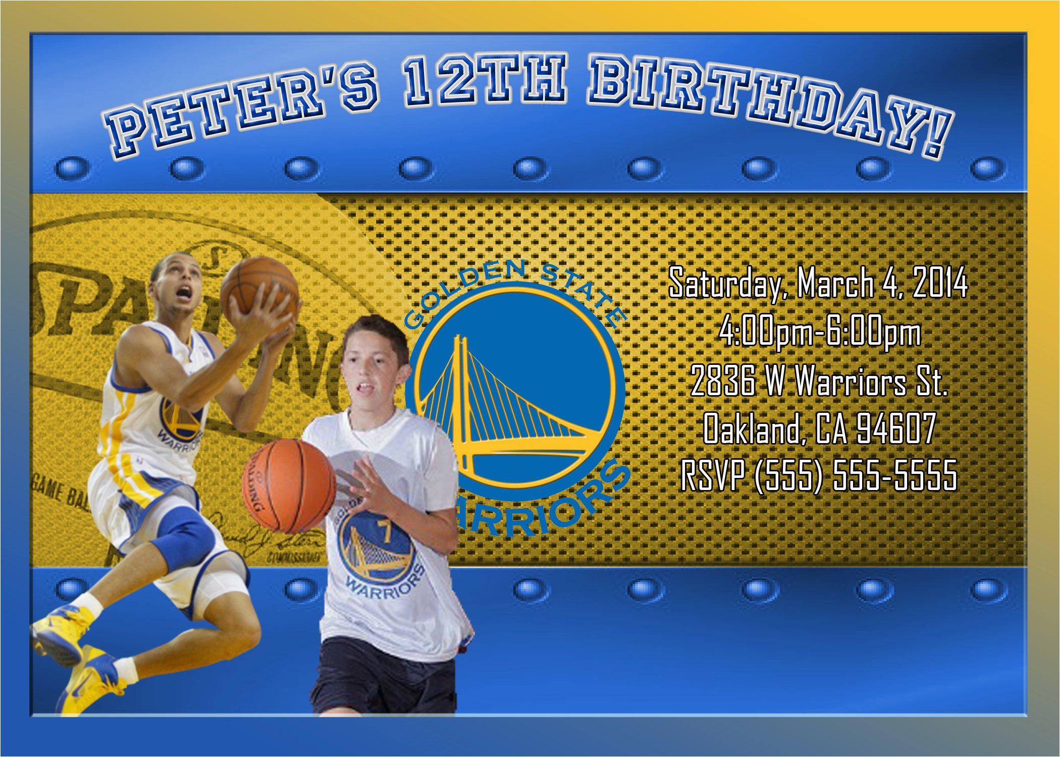 Golden State Warriors Birthday Invitations Nba Golden State Warriors Birthday Invitation Kustom