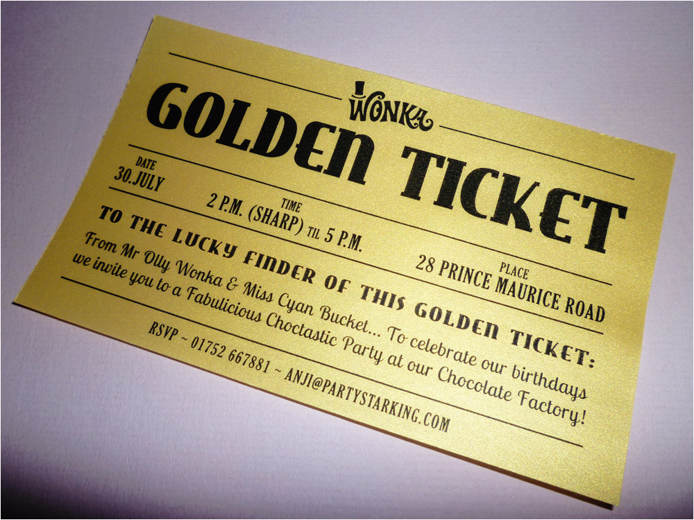 golden ticket party invitations printed