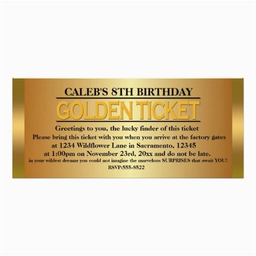 golden ticket type birthday party event invitation 256501755475562465