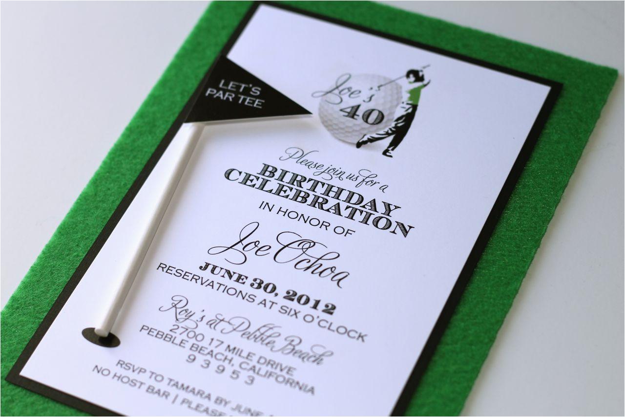 40th birthday golf themed invitations
