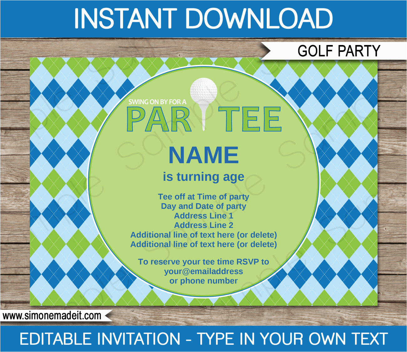 golf party invitations template birthday